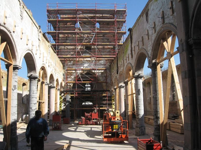 Renovation fire damaged church Galmaarden Belgium